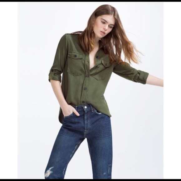 a39f931dd7cc9f Zara Woman Premium Denim Collection Military Shirt.  M_5b8df5a834e48a360544a08c